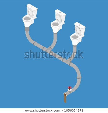 Sewage system Isometric style. Toilet bowl and sewer.  Stock photo © popaukropa