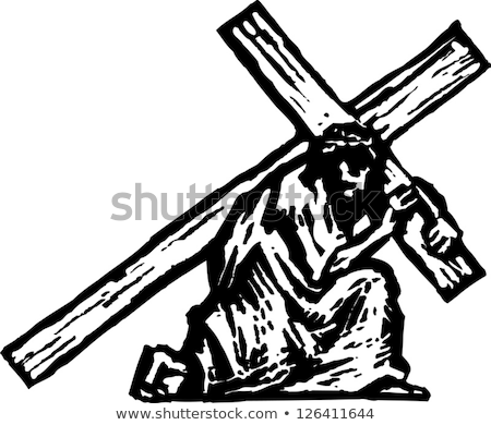 Jesus carry cross. Gods Son. Biblical religious vector illustrat Stock photo © popaukropa