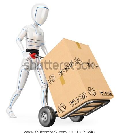 3D humanoide robot empujando carrito cartón Foto stock © texelart