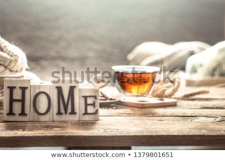 Fincan kahve bağbozumu ahşap tepsi anne Stok fotoğraf © Melnyk