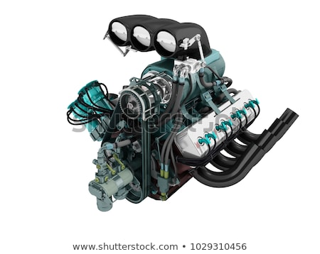 car turbo engine black blue front perspective 3d render on white background with shadow stock photo © mar1art1