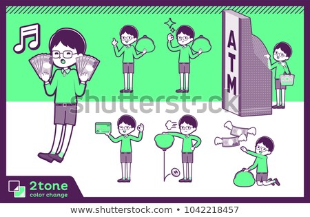 2tone type Green clothing glasses boy_set 11 Stock photo © toyotoyo
