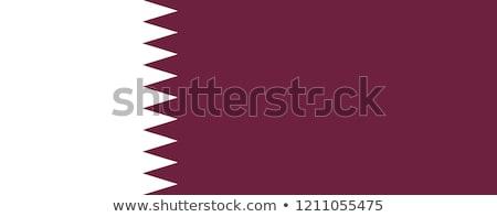 Katar bayrak beyaz boya sanat imzalamak Stok fotoğraf © butenkow