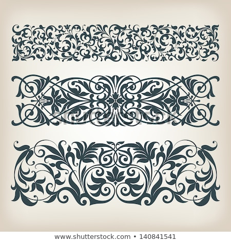 Floral Filigree Pattern Scroll Design Set Stock photo © Krisdog