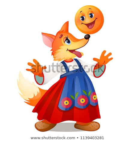 Fox in traditional Russian dress, and a smiling the bun isolated on white background. Characters of  stock photo © Lady-Luck