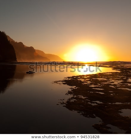 orange sunset over na pali stock photo © backyardproductions