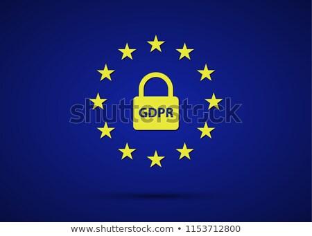 GDPR General Data Protection Regulation with European Union stars and lock, simple vector illustrati stock photo © kurkalukas
