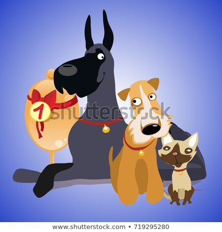 Cute poster with a picture Pets. Exhibition of cats and dogs. Vector cartoon close-up illustration. Stock photo © Lady-Luck