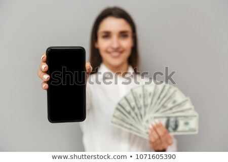 Szerencsés nő 20-as évek feketefehér visel mosolyog Stock fotó © deandrobot