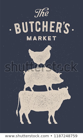 Poster for butcher market. Cow, pig, hen stand on each other Stock photo © FoxysGraphic