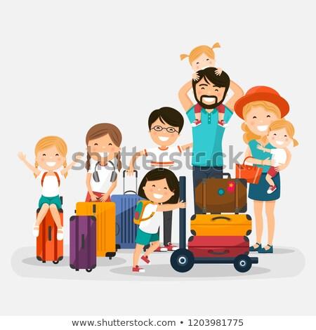 Boldog számos család csomagok fehér gyerekek Stock fotó © Imaagio