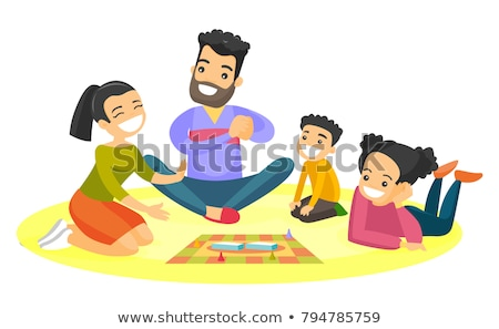 mother and daughter playing a board game together vector isolated illustration stock photo © pikepicture
