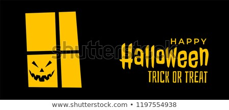 scary halloween banner with house window and laughing ghost face Stock photo © SArts