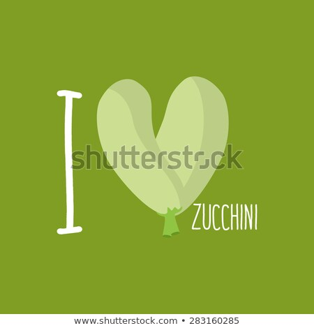 I love Zucchini. Heart of green courgettes. Vector illustration Stock photo © popaukropa