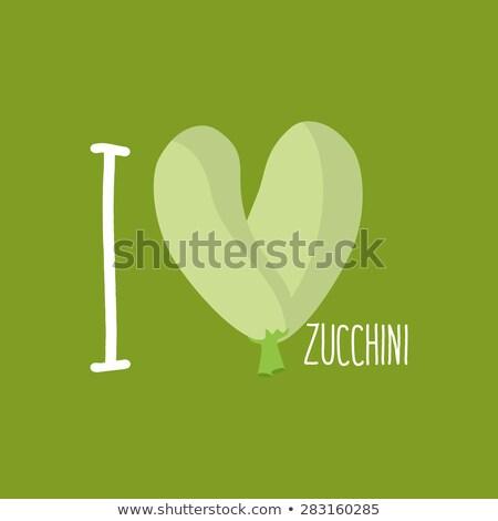 I love Zucchini. Heart of green courgettes. Vector illustration Stock photo © popaukropa