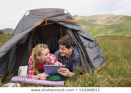couple · camping · tente · homme · femme - photo stock © dolgachov