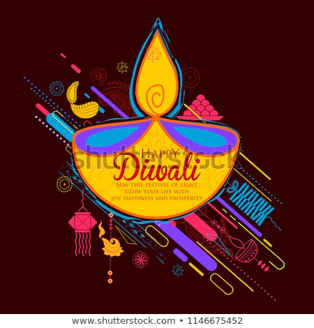 Burning diya on Happy Diwali Dhanteras Holiday background for light festival of India Stock photo © vectomart