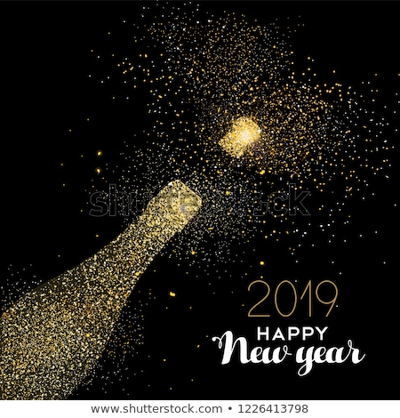 new year 2019 party drink gold glitter dust card stock photo © cienpies