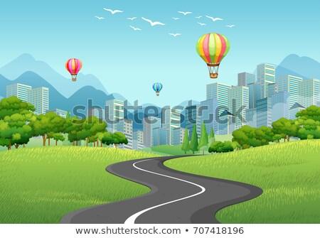 Stad scène ballonnen lang gebouwen illustratie Stockfoto © colematt