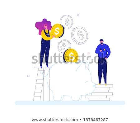 equipe · de · negócios · moderno · projeto · estilo · colorido · bandeira - foto stock © decorwithme