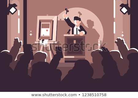 People at auction of art flat poster Stock photo © jossdiim