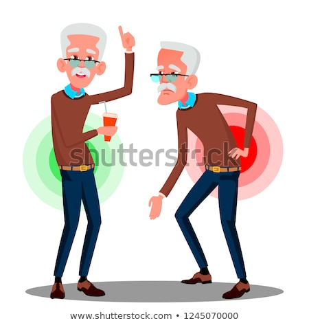 bent over old man from back ache sciatica vector isolated cartoon illustration stock photo © pikepicture