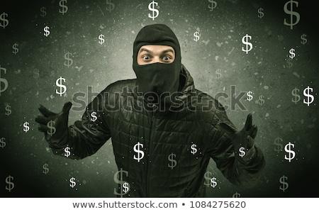 Pénz éhes tolvaj fekete ruházat kéz Stock fotó © ra2studio