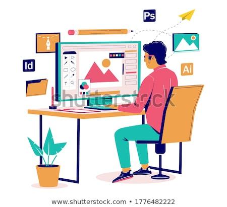 Vetor isométrica gráfico estilista local de trabalho escritório em casa Foto stock © tele52
