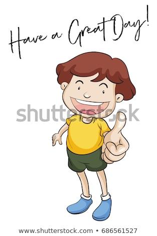 Kicsi fiú kifejezés nagyszerű nap illusztráció Stock fotó © colematt