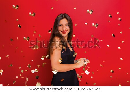 belle · femme · heureux · hurlant · robe · rouge · sexy · fou - photo stock © deandrobot