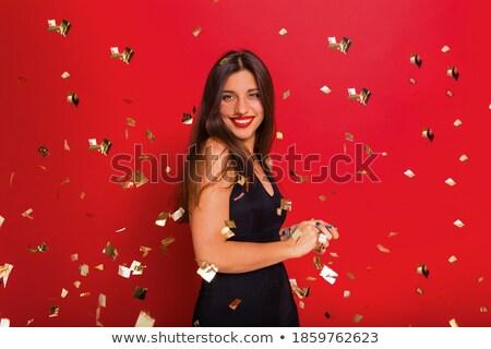 красивая · женщина · счастливым · кричали · красное · платье · Sexy · Crazy - Сток-фото © deandrobot