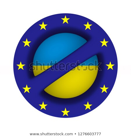 flag EU and ukraine and sign forbidden on white background. Isol Stock photo © ISerg
