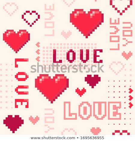 Pixel I love you. Heart pixel. Pixel 8 bit with words I love you. Stock photo © AisberG