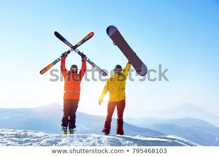 Boldog férfi síel hegyek kék ég téli sport Stock fotó © jossdiim