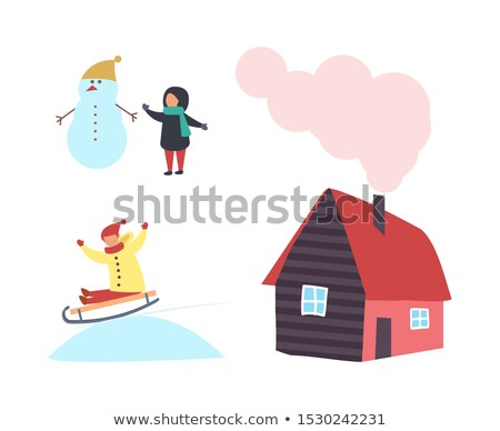 Boneco de neve criança casa de campo casa chaminé ícone Foto stock © robuart