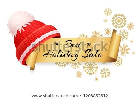 Tél vásár címke kötött piros kalap Stock fotó © robuart