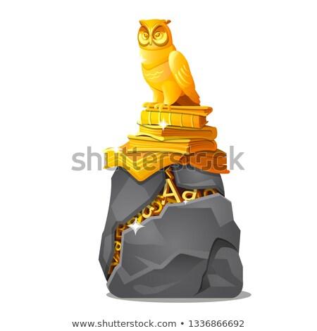 Owl Storytelling Stone Background Stock photo © lenm