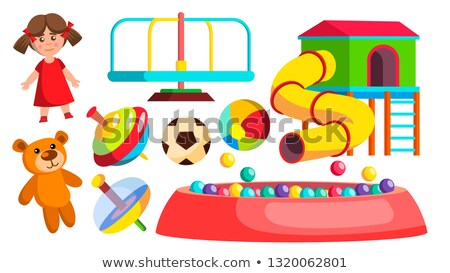 Playground Toys Vector. Doll, Ball, Bear, Carousel, Attraction. Isolated Flat Cartoon Illustration Stock photo © pikepicture