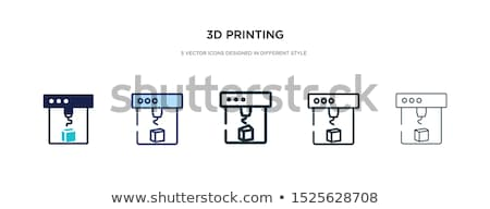 3D printing - line design style icons set Stock photo © Decorwithme