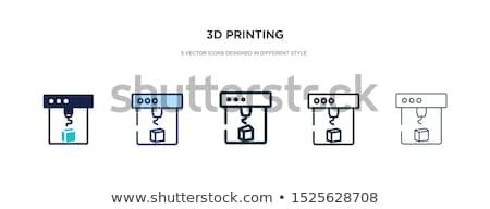 3D nyomtatás vonal terv stílus ikon szett Stock fotó © Decorwithme