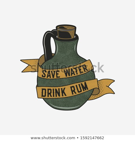 hand drawn rum logo with bottle illustration and quote   save water drink rum vintage alcohol badge stock photo © jeksongraphics