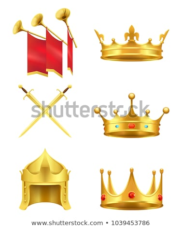 Gold Helmet Vector. Golden King Royal Helmet. Monarchy Power. Isolated Realistic Illustration Stock photo © pikepicture