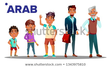 Arab, Muslim Male Set People Person Vector. Grandfather, Father, Son, Grandson, Baby Vector. Vector. Stock photo © pikepicture