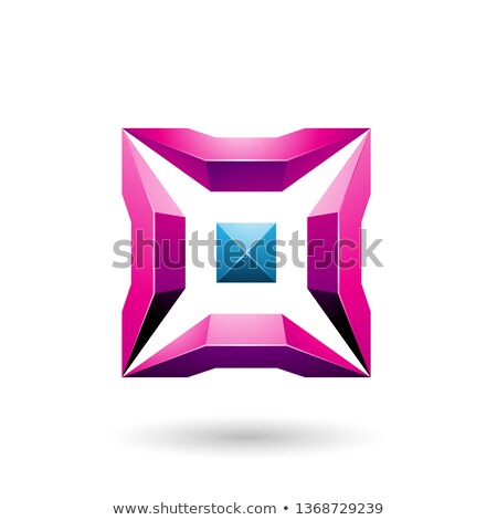 Magenta and Blue Square with 3d Glossy Pieces Vector Illustratio Stock photo © cidepix