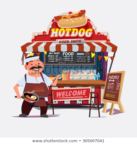 Food vendor with hotdog and drinks Stock photo © colematt