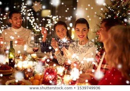 tafel · christmas · man · voedsel · tabel · diner - stockfoto © dolgachov