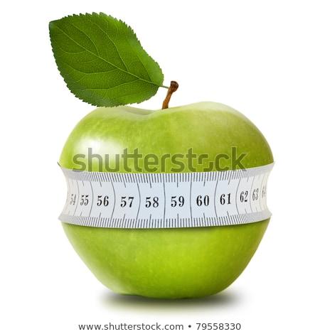 Fitnessz súlyzók mérőszalag alma vizes flakon fából készült Stock fotó © karandaev