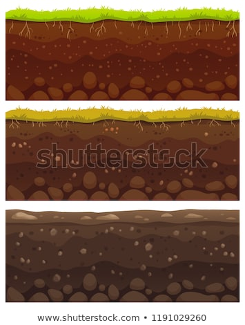 soil seamless layers ground layer stones and grass on dirts vector stock photo © andrei_