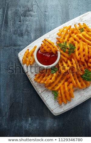 Crunchy waffle fries with dip Stock photo © BarbaraNeveu