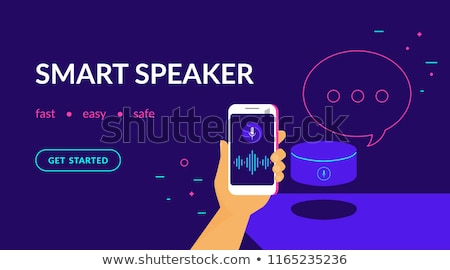 Smart speaker, voice command device with integrated virtual assistant concept. Flat vector illustrat Stock photo © makyzz